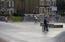 Brixton Beach, a shared use skate park is next door to Co-operative bike shop, Brixton Cycles. Image accompanied my article in Huck magazine online 2010. Copyright Lucy Munday