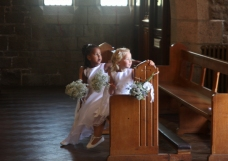 waiting flower girls Ciara and Phoebe, CA wedding, jersey, august 2016. Copyright Lucy Munday