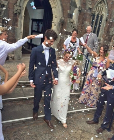 Sophie and Chris, under the confetti, July 2015.